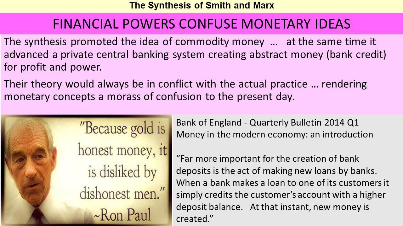 The Synthesis of Smith and Marx The synthesis promoted the idea of commodity money … at the same time it advanced a private central banking system creating abstract money (bank credit) for profit and power.