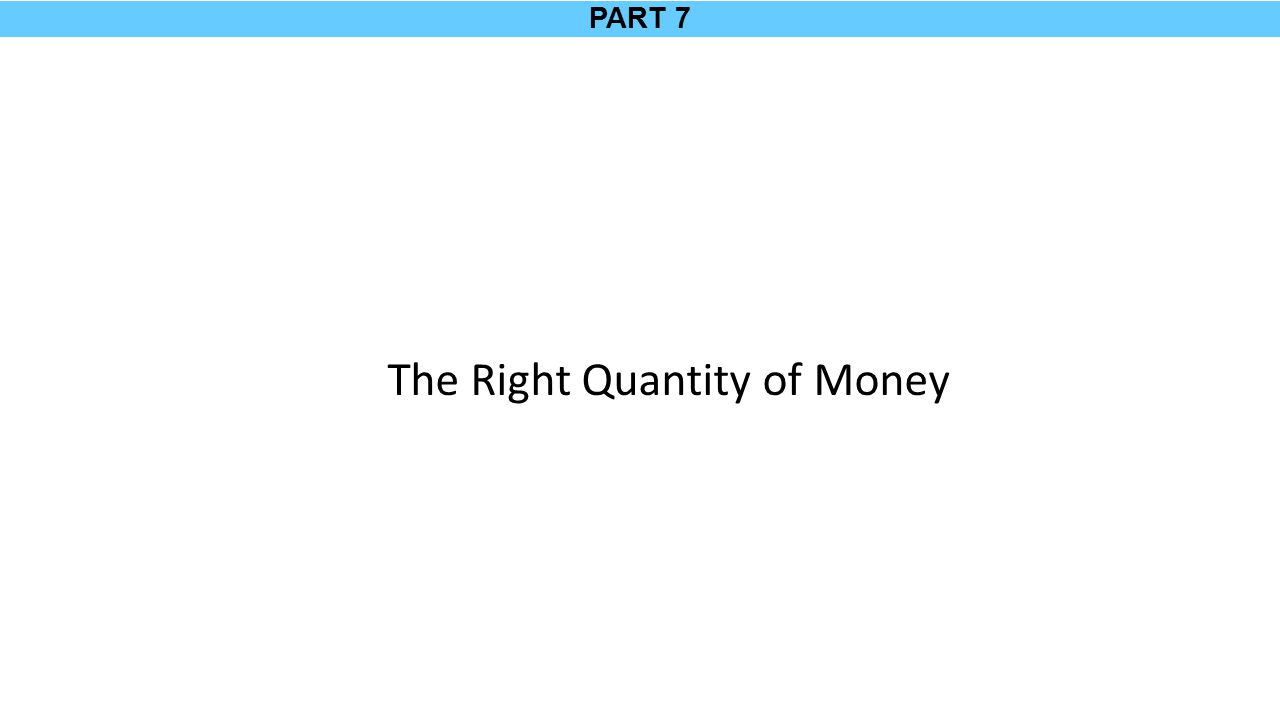 PART 7 The Right Quantity of Money