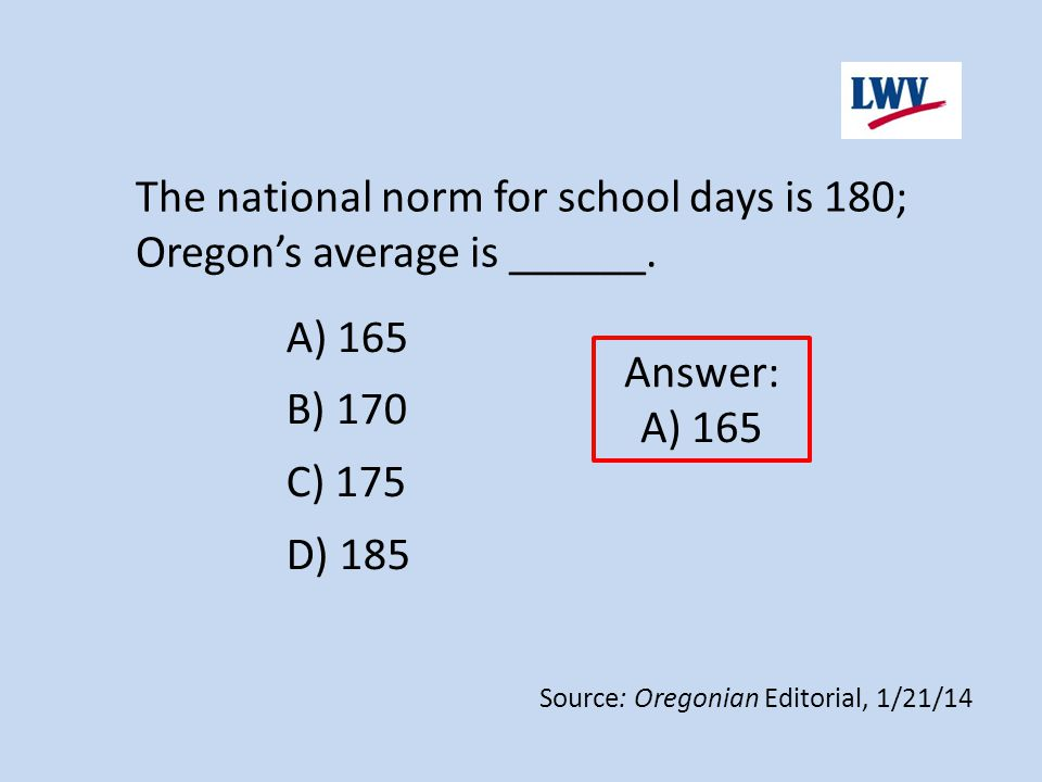 A) 165 B) 170 C) 175 D) 185 The national norm for school days is 180; Oregon's average is ______. Answer: A) 165 Source: Oregonian Editorial, 1/21/14