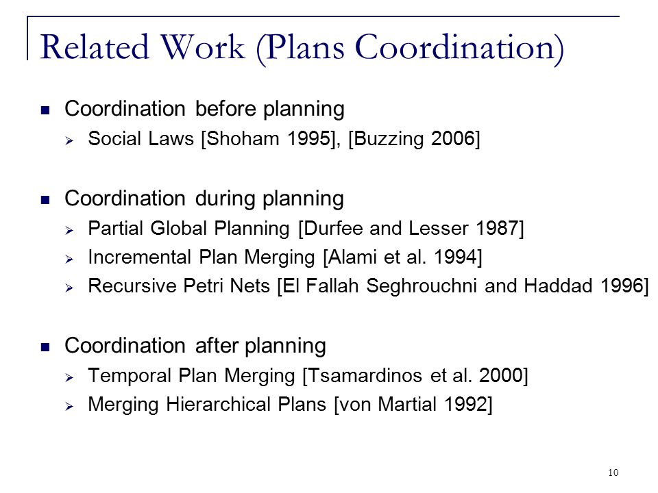 10 Related Work (Plans Coordination) Coordination before planning  Social Laws [Shoham 1995], [Buzzing 2006] Coordination during planning  Partial G
