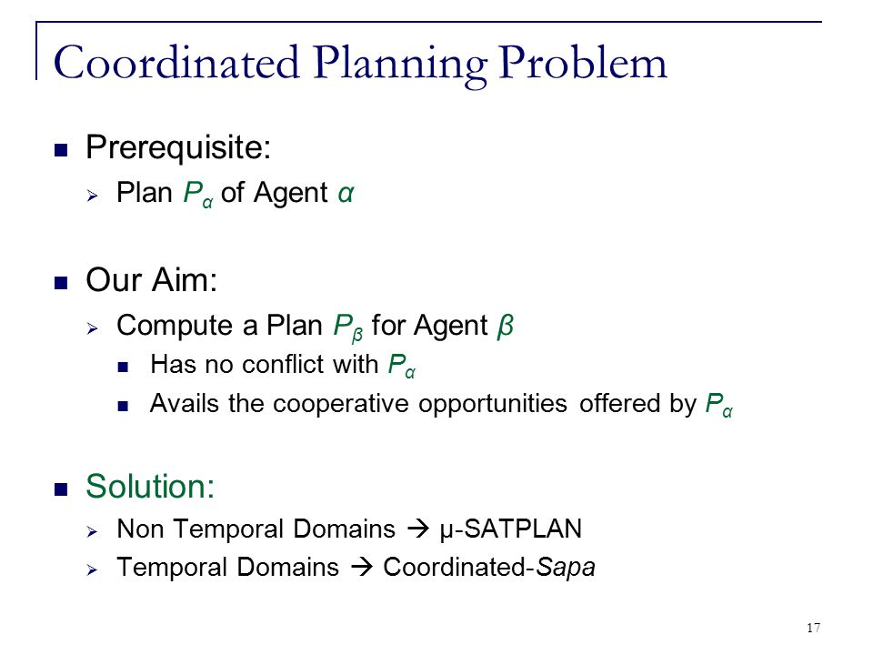 17 Coordinated Planning Problem Prerequisite:  Plan P α of Agent α Our Aim:  Compute a Plan P β for Agent β Has no conflict with P α Avails the coop