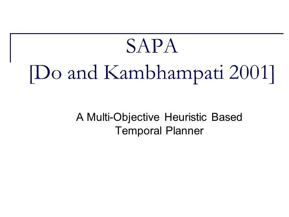 SAPA [Do and Kambhampati 2001] A Multi-Objective Heuristic Based Temporal Planner