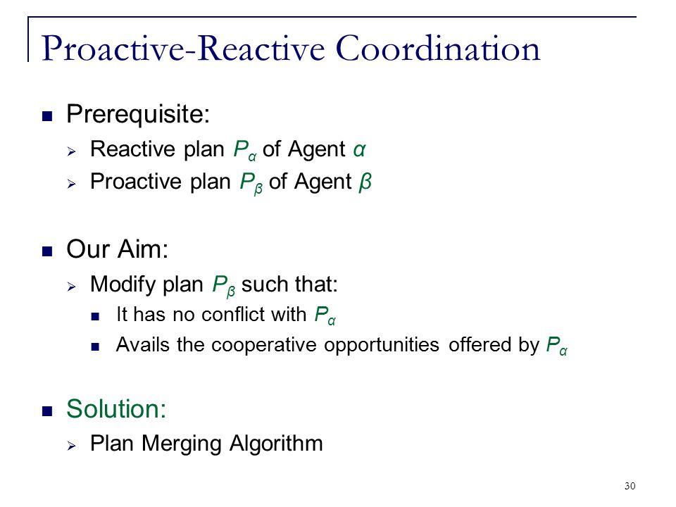 30 Proactive-Reactive Coordination Prerequisite:  Reactive plan P α of Agent α  Proactive plan P β of Agent β Our Aim:  Modify plan P β such that: