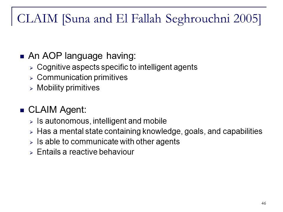 46 An AOP language having:  Cognitive aspects specific to intelligent agents  Communication primitives  Mobility primitives CLAIM Agent:  Is auton