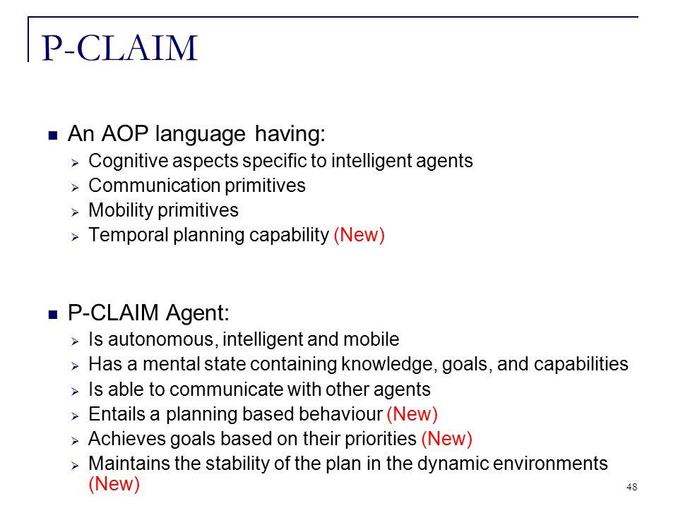 48 An AOP language having:  Cognitive aspects specific to intelligent agents  Communication primitives  Mobility primitives  Temporal planning cap