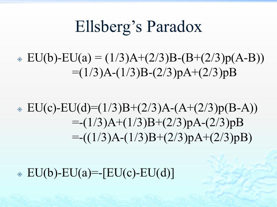 Ellsberg's Paradox  EU(b)-EU(a) = (1/3)A+(2/3)B-(B+(2/3)p(A-B)) =(1/3)A-(1/3)B-(2/3)pA+(2/3)pB  EU(c)-EU(d)=(1/3)B+(2/3)A-(A+(2/3)p(B-A)) =-(1/3)A+(
