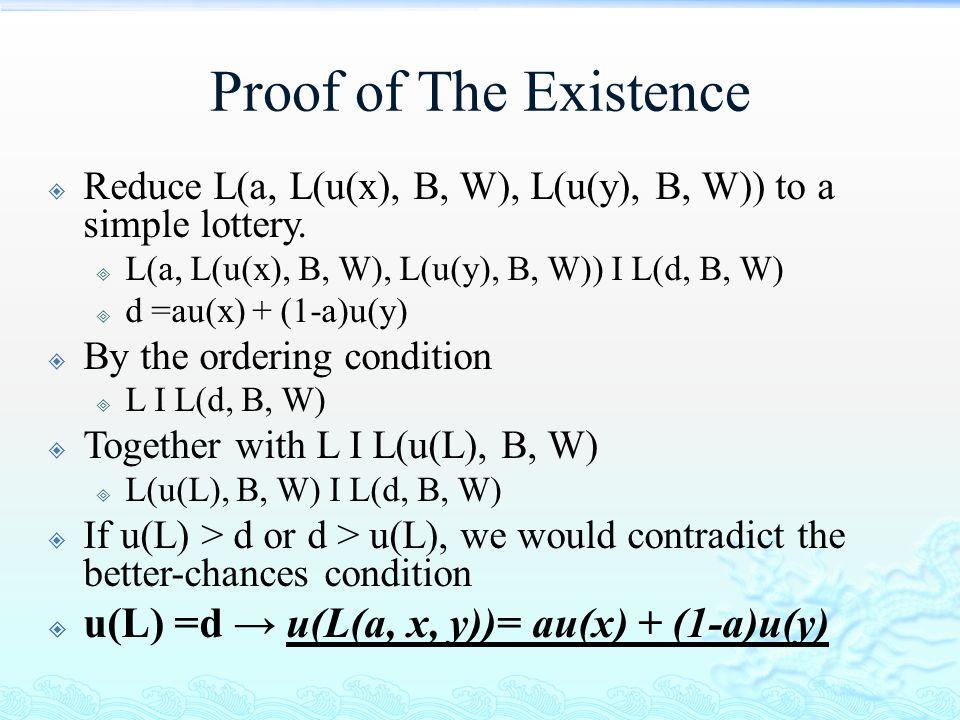 Proof of The Existence  Reduce L(a, L(u(x), B, W), L(u(y), B, W)) to a simple lottery.  L(a, L(u(x), B, W), L(u(y), B, W)) I L(d, B, W)  d =au(x) +