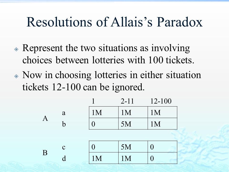 Resolutions of Allais's Paradox  Represent the two situations as involving choices between lotteries with 100 tickets.  Now in choosing lotteries in