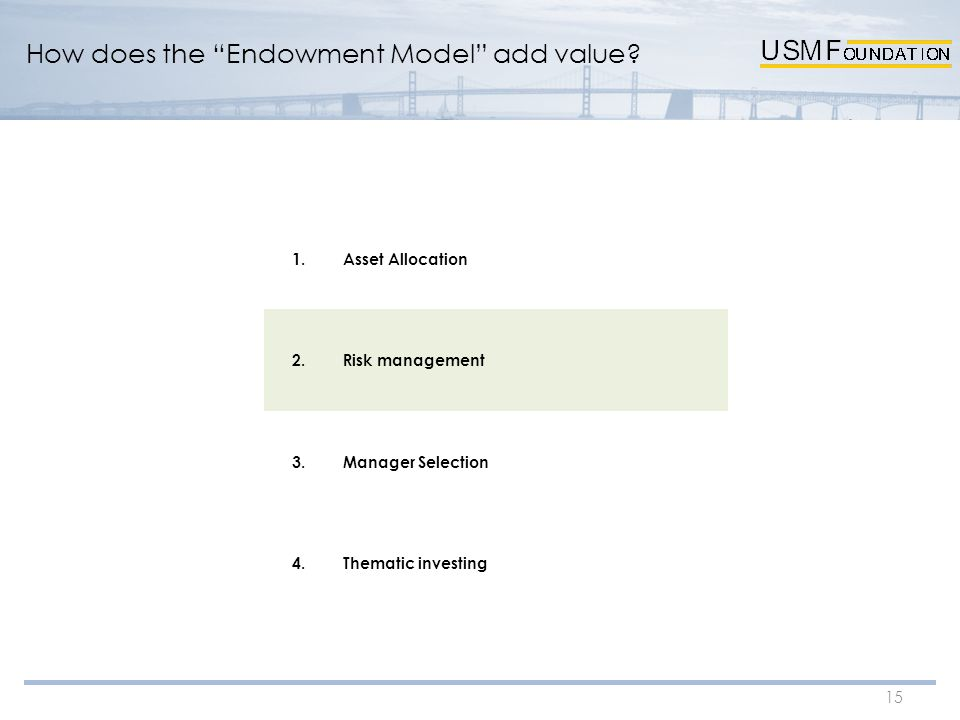 "15 How does the ""Endowment Model"" add value? 1.Asset Allocation 2.Risk management 3.Manager Selection 4.Thematic investing"