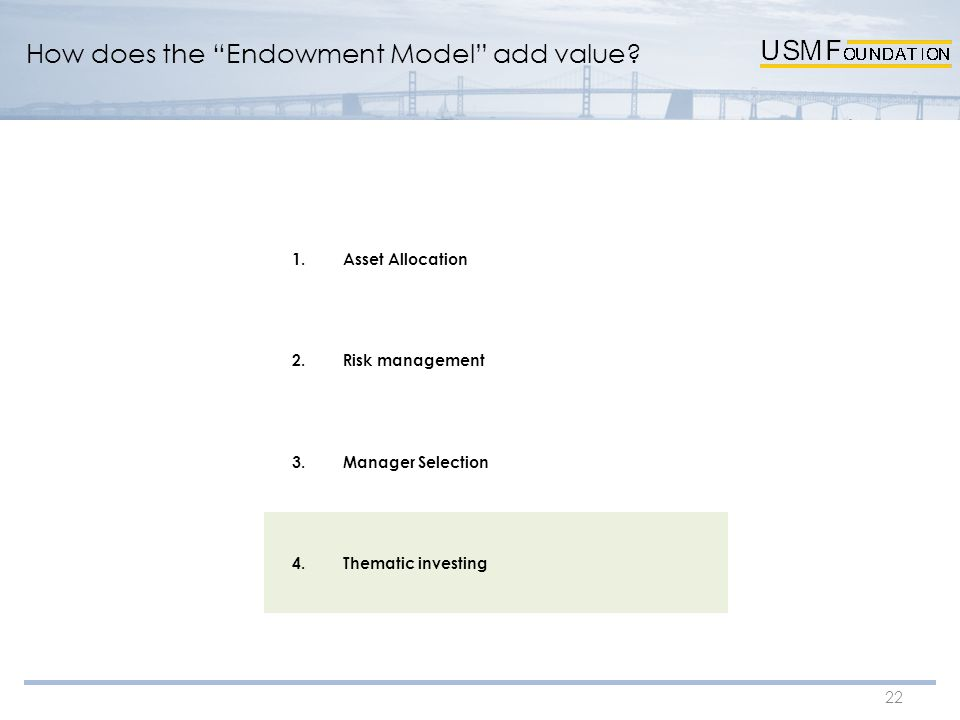 "22 How does the ""Endowment Model"" add value? 1.Asset Allocation 2.Risk management 3.Manager Selection 4.Thematic investing"