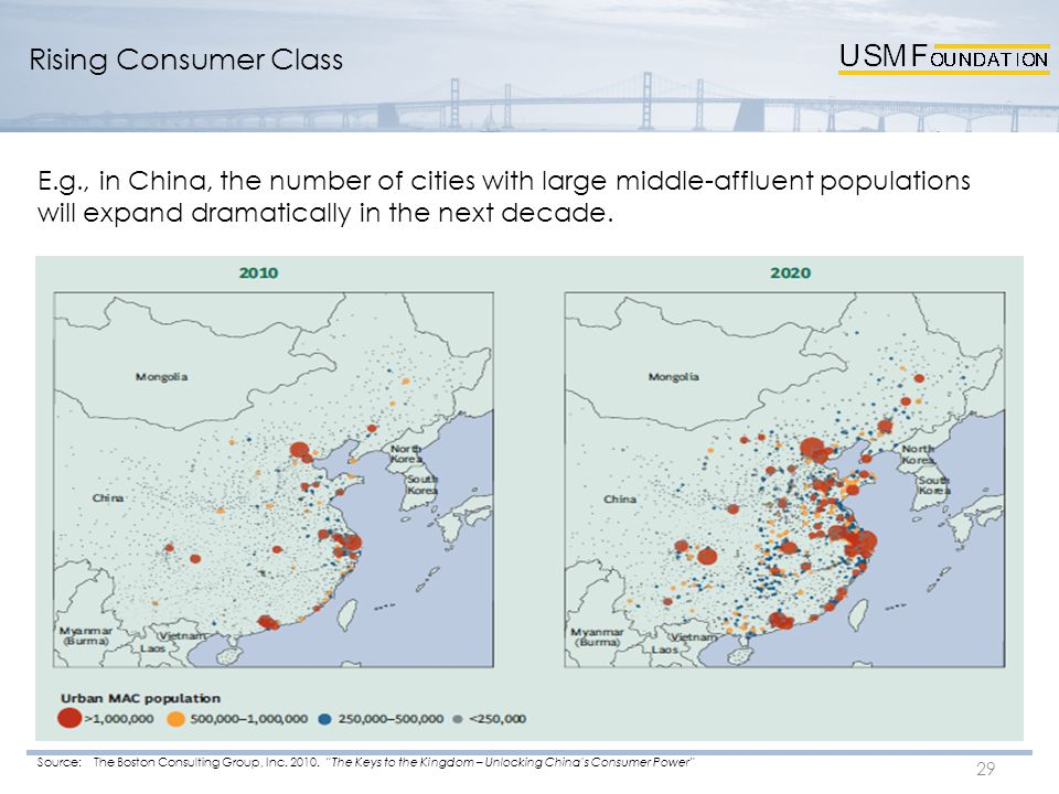 29 E.g., in China, the number of cities with large middle-affluent populations will expand dramatically in the next decade. Source: The Boston Consult