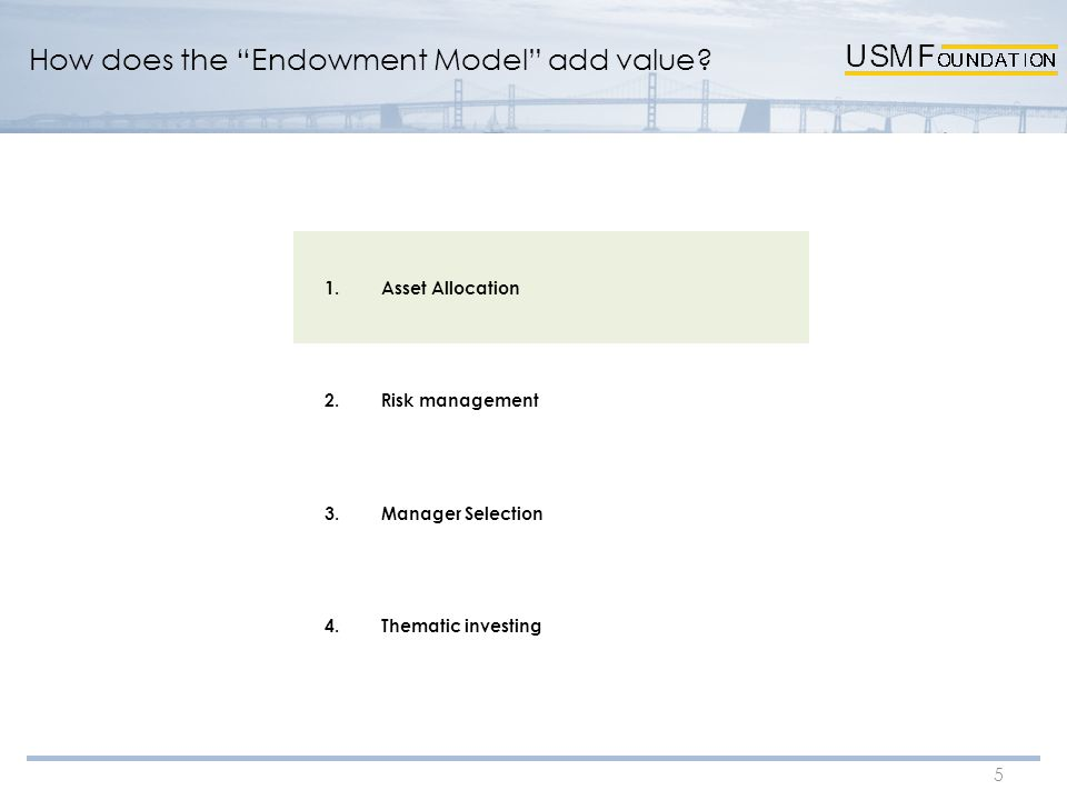 "5 How does the ""Endowment Model"" add value? 1.Asset Allocation 2.Risk management 3.Manager Selection 4.Thematic investing"