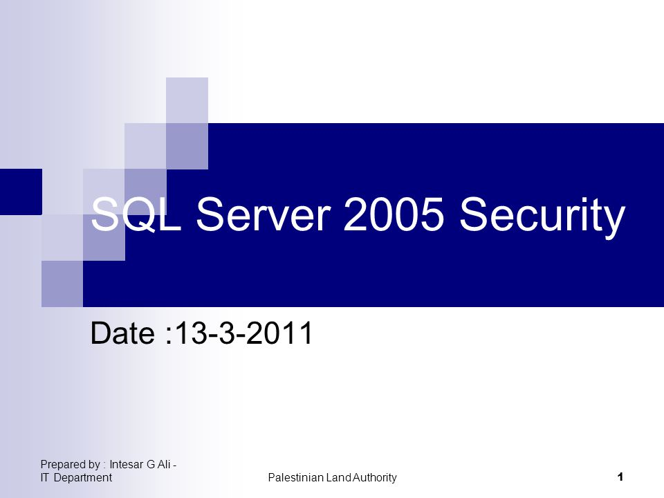 Prepared by : Intesar G Ali - IT DepartmentPalestinian Land Authority 1 SQL Server 2005 Security Date :13-3-2011