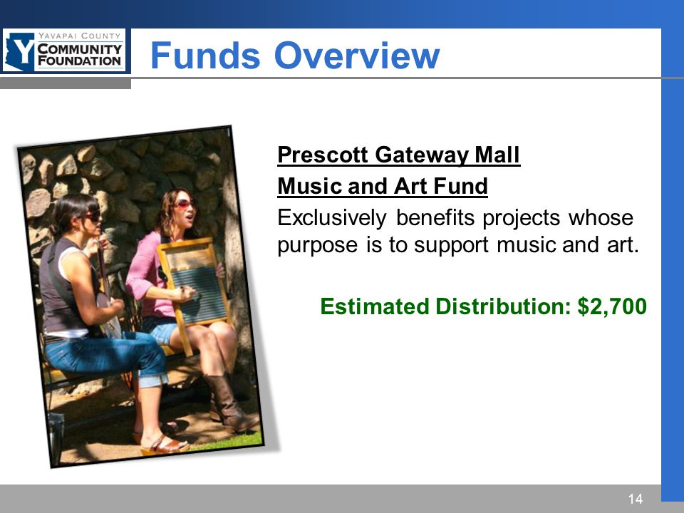Funds Overview 14 Prescott Gateway Mall Music and Art Fund Exclusively benefits projects whose purpose is to support music and art.