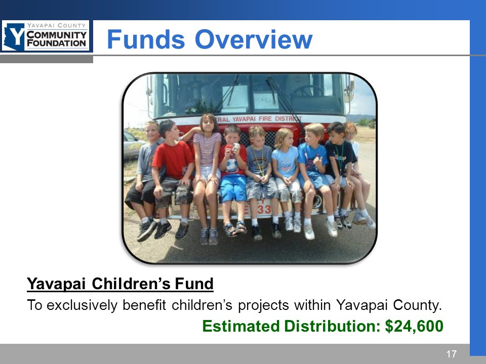 Funds Overview 17 Yavapai Children's Fund To exclusively benefit children's projects within Yavapai County.