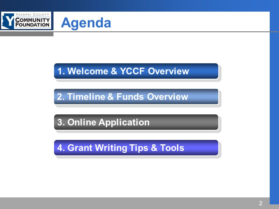 Agenda 1. Welcome & YCCF Overview 2. Timeline & Funds Overview 3.