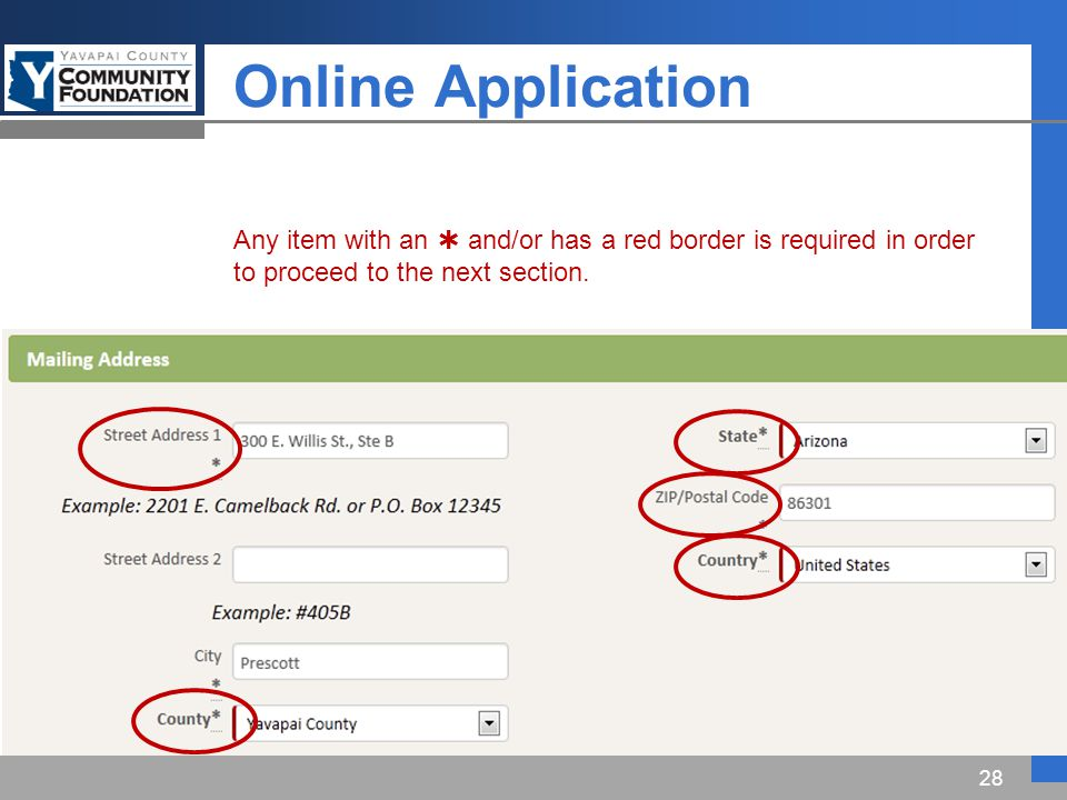 Online Application 28 Any item with an  and/or has a red border is required in order to proceed to the next section.