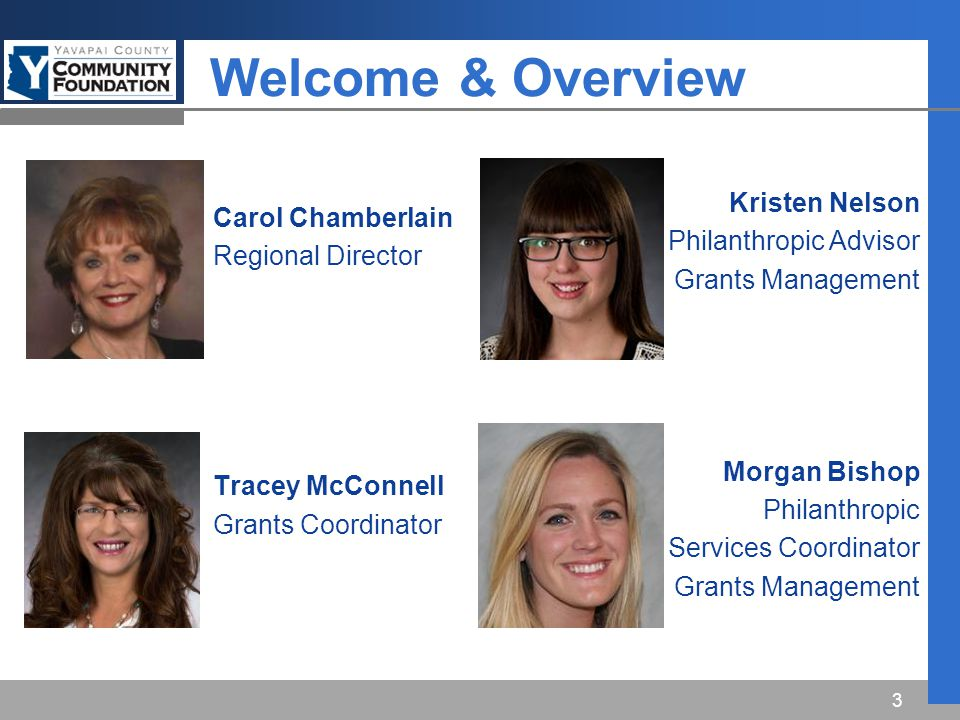 Welcome & Overview Carol Chamberlain Regional Director Tracey McConnell Grants Coordinator 3 Kristen Nelson Philanthropic Advisor Grants Management Morgan Bishop Philanthropic Services Coordinator Grants Management