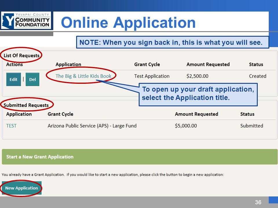 Online Application 36 NOTE: When you sign back in, this is what you will see.