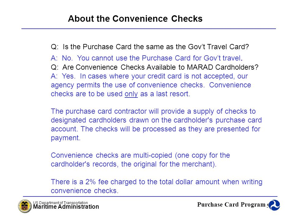 Purchase Card Program US Department of Transportation Maritime Administration 56 Cardholder Statement/Transactions Rita Thomas Office of Acquisition Maritime Administration Rita.Thomas@dot.gov Module 1 Chapter 5 December 14, 2005