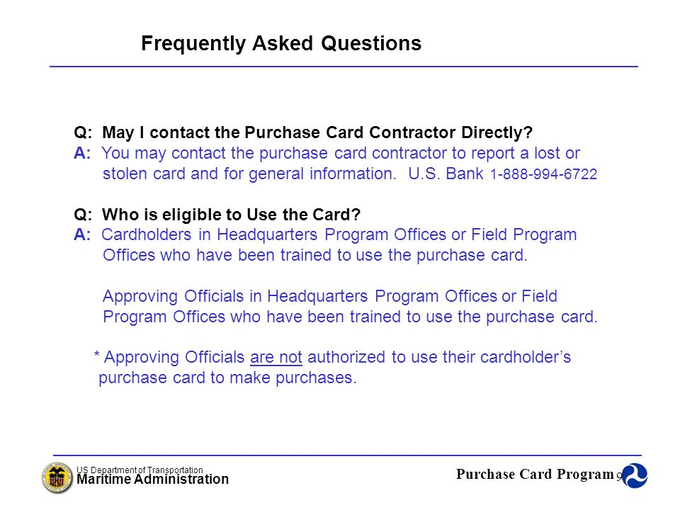 Purchase Card Program US Department of Transportation Maritime Administration 50 What is Fraud.