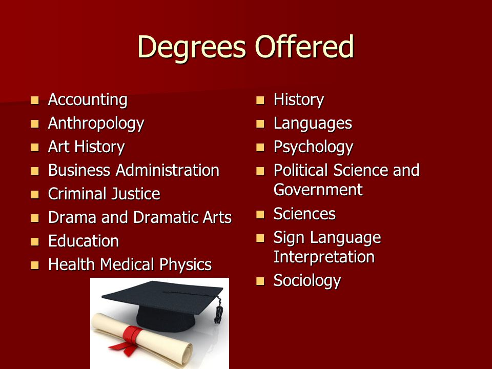 Degrees Offered Accounting Accounting Anthropology Anthropology Art History Art History Business Administration Business Administration Criminal Justice Criminal Justice Drama and Dramatic Arts Drama and Dramatic Arts Education Education Health Medical Physics Health Medical Physics History History Languages Languages Psychology Psychology Political Science and Government Political Science and Government Sciences Sciences Sign Language Interpretation Sign Language Interpretation Sociology Sociology