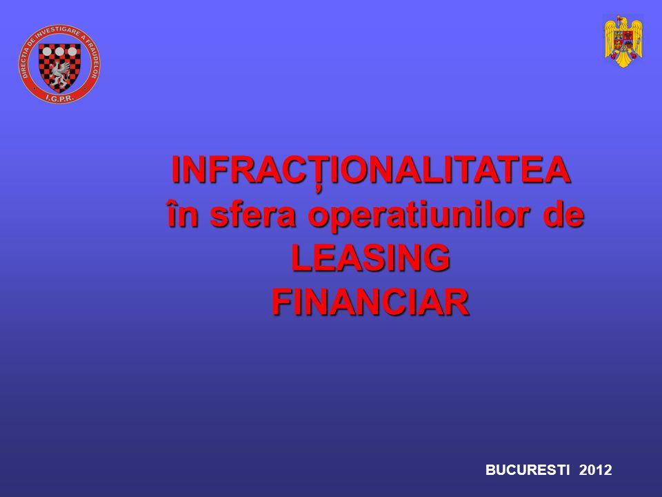 Prin natura lor, infracţiunile specifice leasingului financiar pot fi infracţiuni simple prevazute de Codul Penal şi celelalte legi speciale sau infracţiuni subsecvente şi complementare infracţiunilor de - spalarea banilor, - spalarea banilor, sau concurente cu sau concurente cu - evaziunea fiscala - evaziunea fiscala INVESTIGAREA INVESTIGAREA infracţiunilor specifice leasingului financiar infracţiunilor specifice leasingului financiar