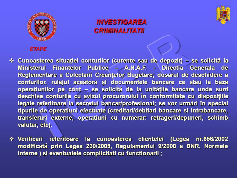  Cunoasterea situaţiei conturilor (curente sau de depozit) – se solicită la Ministerul Finantelor Publice – A.N.A.F.