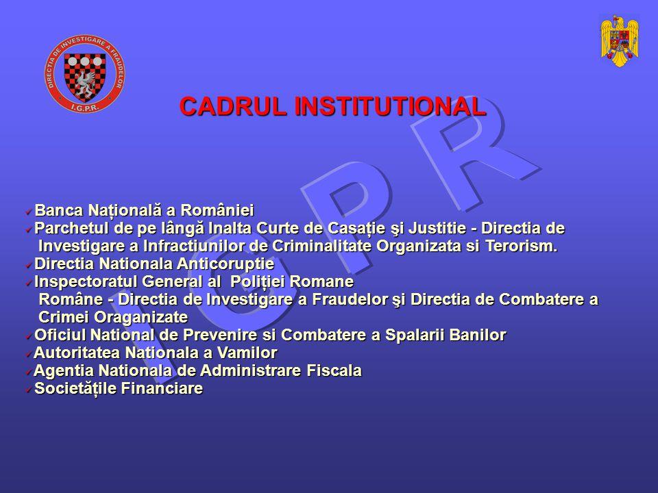 Banca Naţională a României Banca Naţională a României Parchetul de pe lângă Inalta Curte de Casaţie şi Justitie - Directia de Parchetul de pe lângă Inalta Curte de Casaţie şi Justitie - Directia de Investigare a Infractiunilor de Criminalitate Organizata si Terorism.