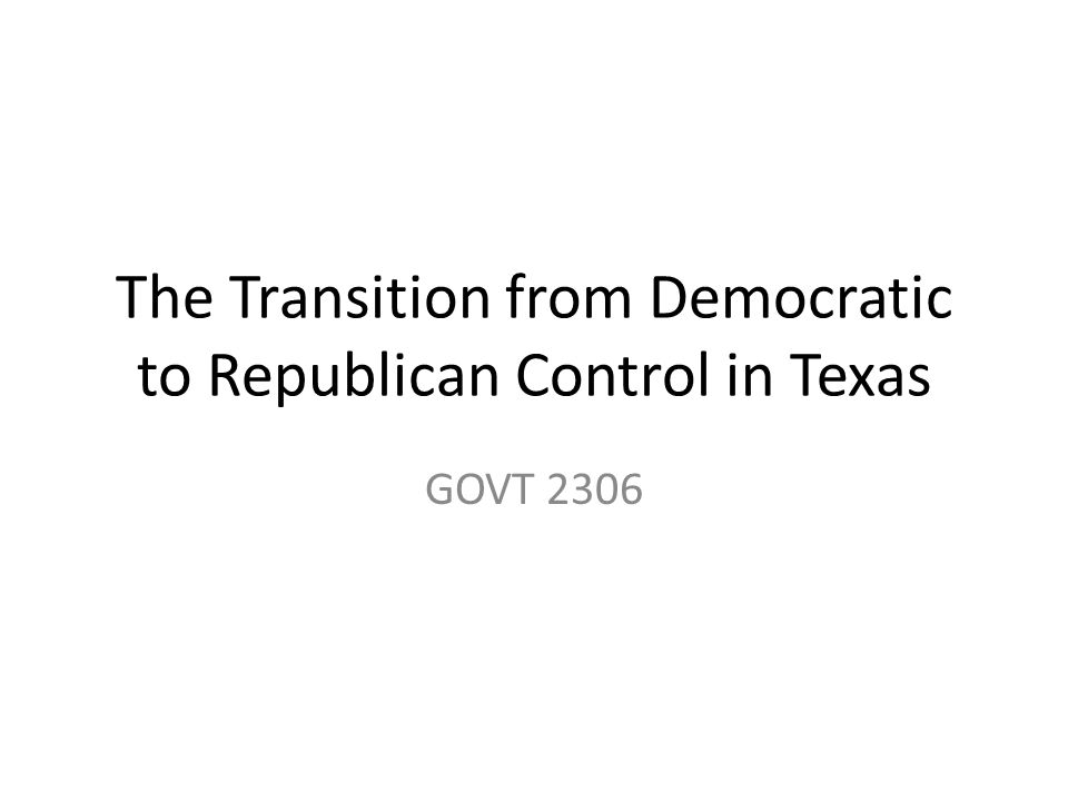 In the early 20 th Century the Texas Republican Party positioned itself as the party of business.