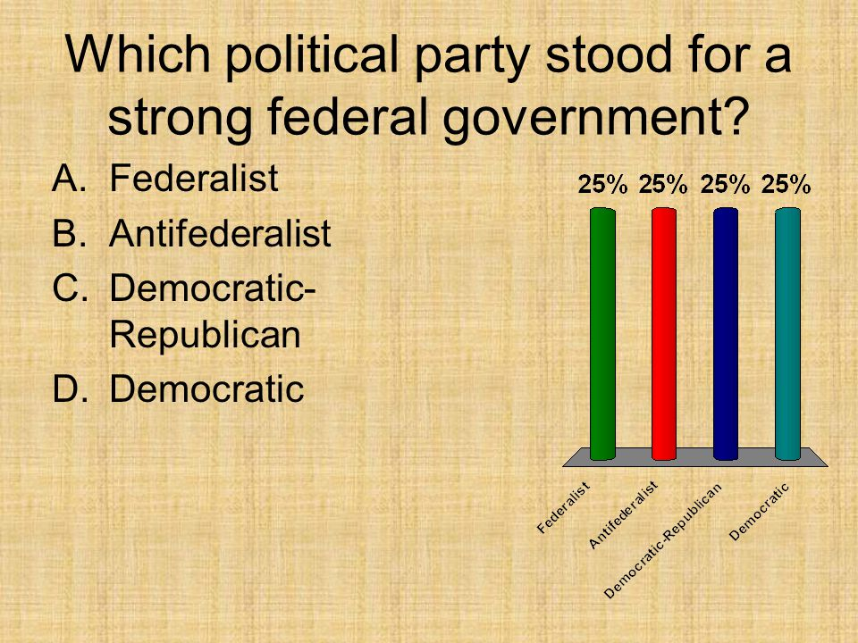 Which political party stood for a strong federal government? A.Federalist B.Antifederalist C.Democratic- Republican D.Democratic