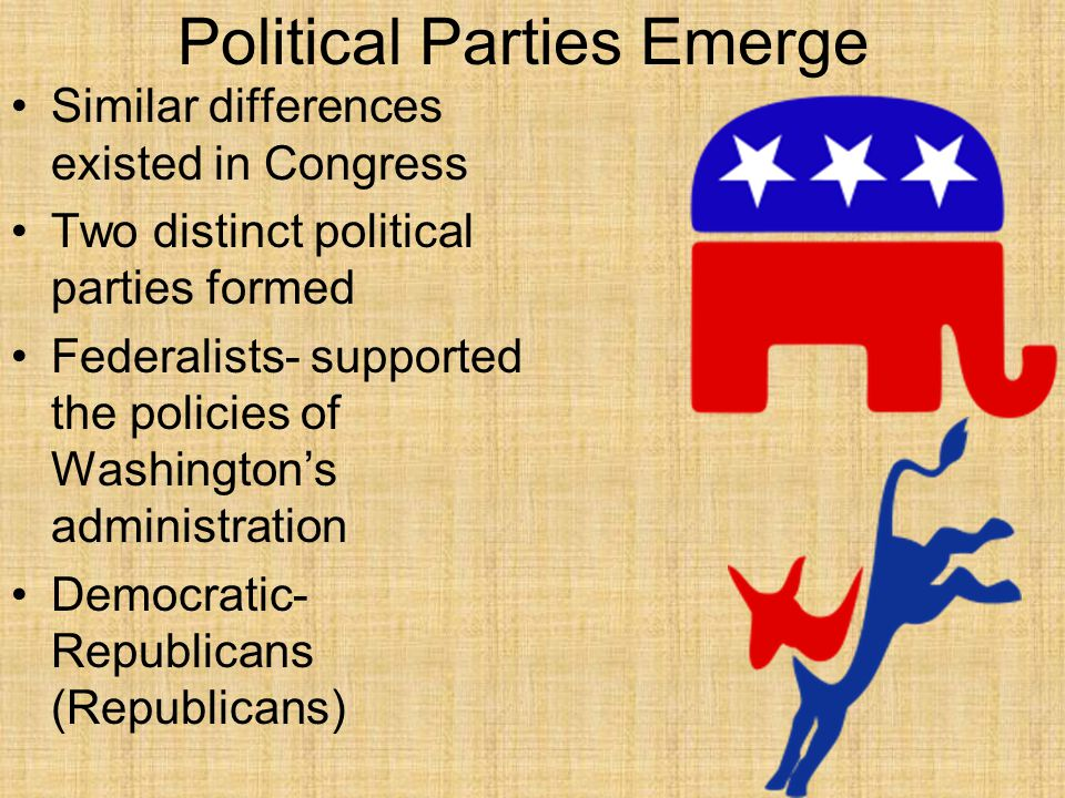 Political Parties Emerge Similar differences existed in Congress Two distinct political parties formed Federalists- supported the policies of Washingt