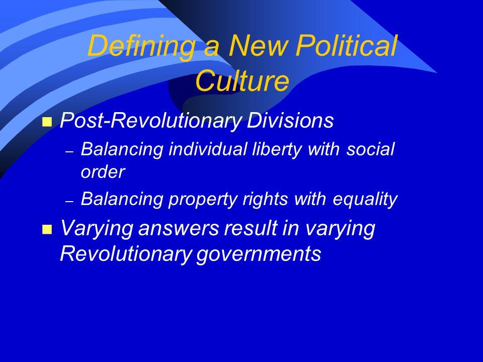 Defining a New Political Culture n Post-Revolutionary Divisions – Balancing individual liberty with social order – Balancing property rights with equa