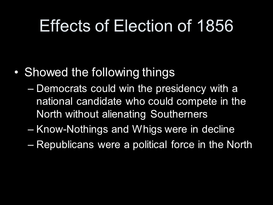Effects of Election of 1856 Showed the following things –Democrats could win the presidency with a national candidate who could compete in the North without alienating Southerners –Know-Nothings and Whigs were in decline –Republicans were a political force in the North