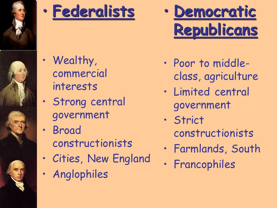 FederalistsFederalists Wealthy, commercial interests Strong central government Broad constructionists Cities, New England Anglophiles Democratic Repub
