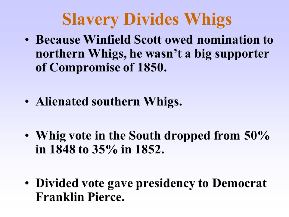 Slavery Divides Whigs Because Winfield Scott owed nomination to northern Whigs, he wasn't a big supporter of Compromise of 1850. Alienated southern Wh