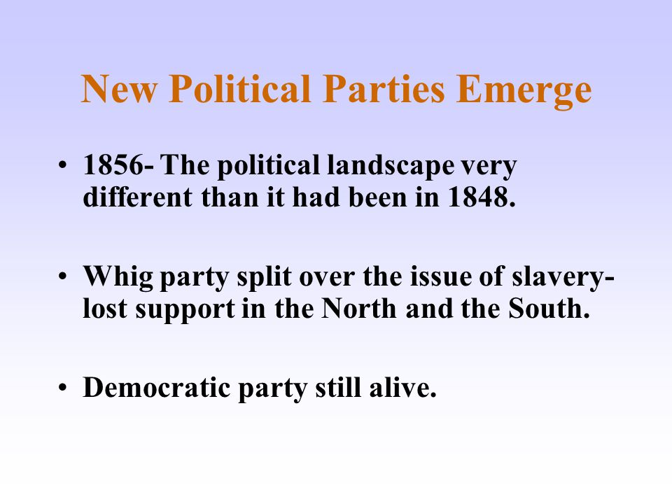 New Political Parties Emerge 1856- The political landscape very different than it had been in 1848. Whig party split over the issue of slavery- lost s