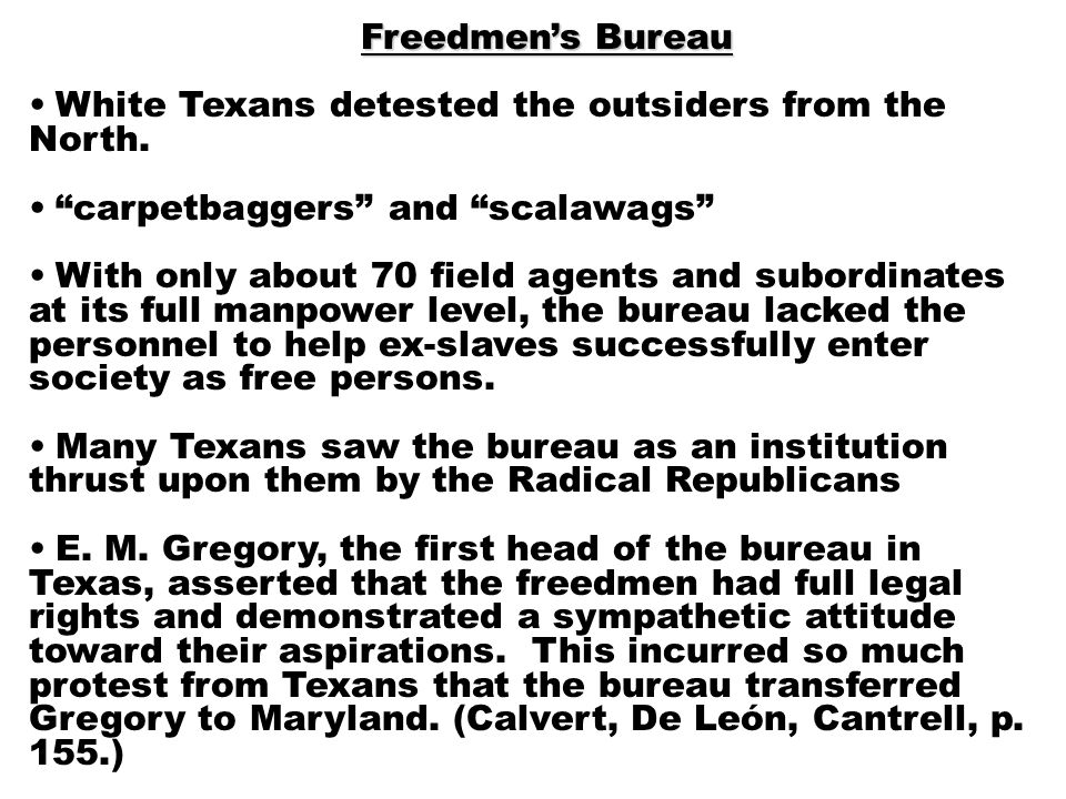Freedmen's Bureau White Texans detested the outsiders from the North.