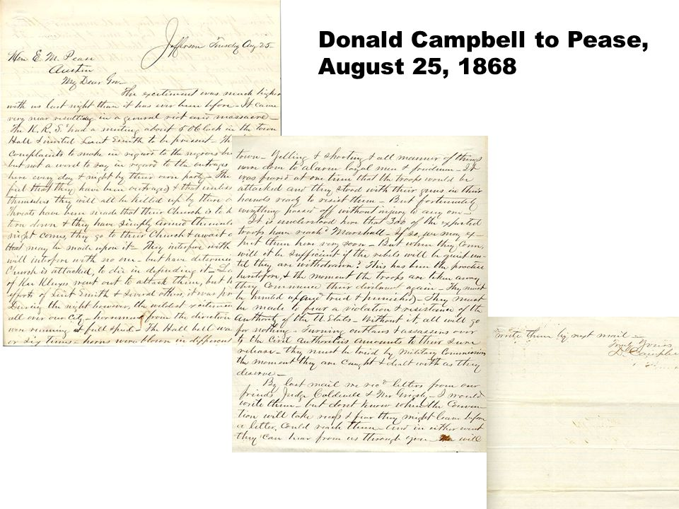Donald Campbell to Pease, August 25, 1868