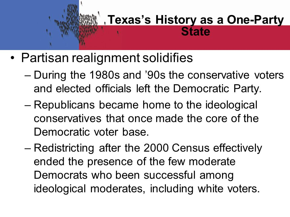 Partisan realignment solidifies –During the 1980s and '90s the conservative voters and elected officials left the Democratic Party.