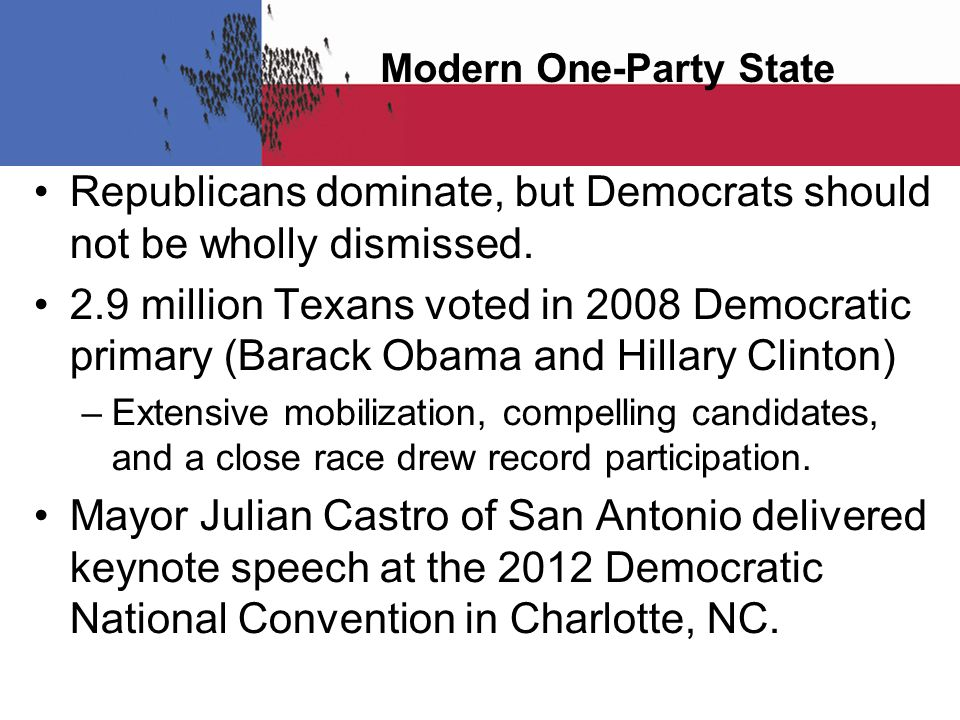 Modern One-Party State Republicans dominate, but Democrats should not be wholly dismissed.