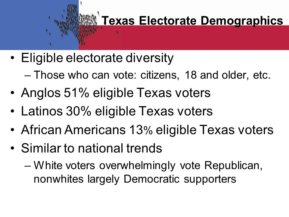 Texas Electorate Demographics Eligible electorate diversity –Those who can vote: citizens, 18 and older, etc.