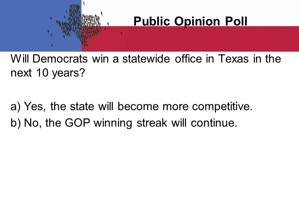 Public Opinion Poll Will Democrats win a statewide office in Texas in the next 10 years.