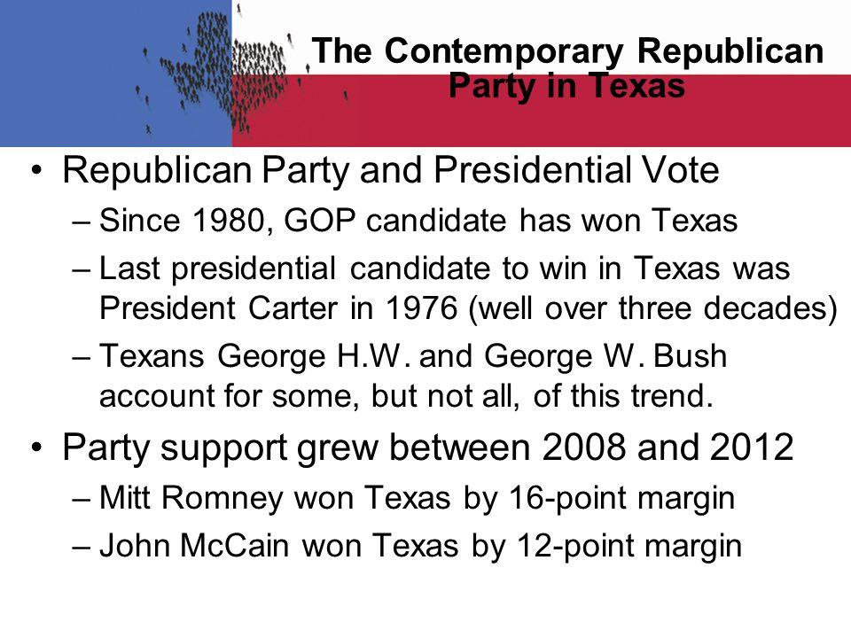 The Contemporary Republican Party in Texas Republican Party and Presidential Vote –Since 1980, GOP candidate has won Texas –Last presidential candidate to win in Texas was President Carter in 1976 (well over three decades) –Texans George H.W.