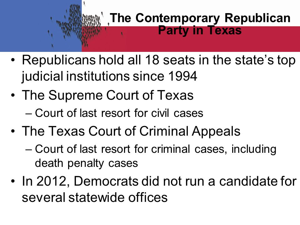 Republicans hold all 18 seats in the state's top judicial institutions since 1994 The Supreme Court of Texas –Court of last resort for civil cases The Texas Court of Criminal Appeals –Court of last resort for criminal cases, including death penalty cases In 2012, Democrats did not run a candidate for several statewide offices The Contemporary Republican Party in Texas