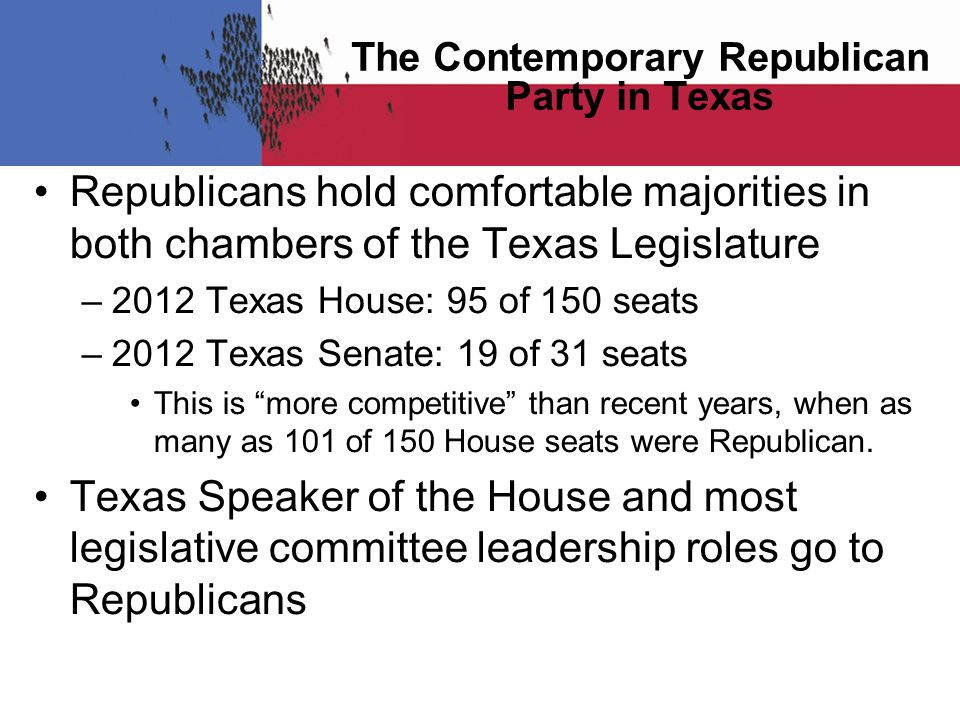 Republicans hold comfortable majorities in both chambers of the Texas Legislature –2012 Texas House: 95 of 150 seats –2012 Texas Senate: 19 of 31 seats This is more competitive than recent years, when as many as 101 of 150 House seats were Republican.