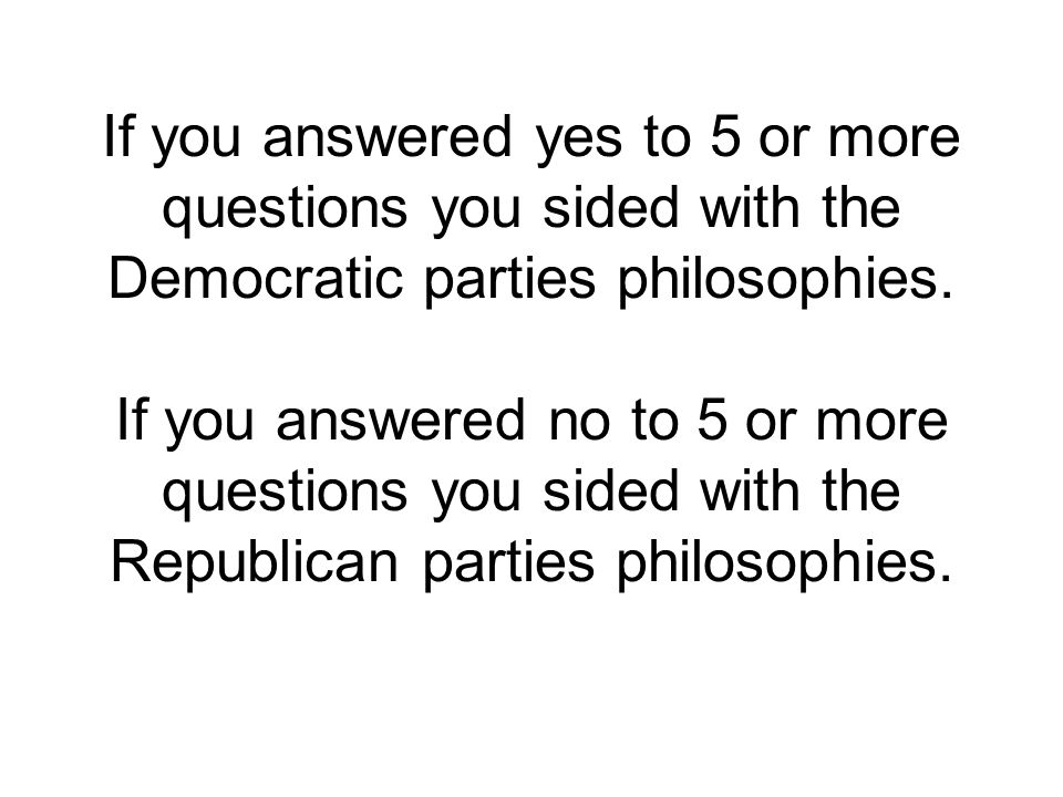 If you answered yes to 5 or more questions you sided with the Democratic parties philosophies.