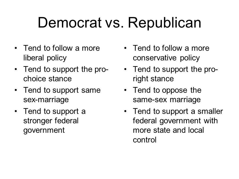 Democrat vs. Republican Tend to follow a more liberal policy Tend to support the pro- choice stance Tend to support same sex-marriage Tend to support