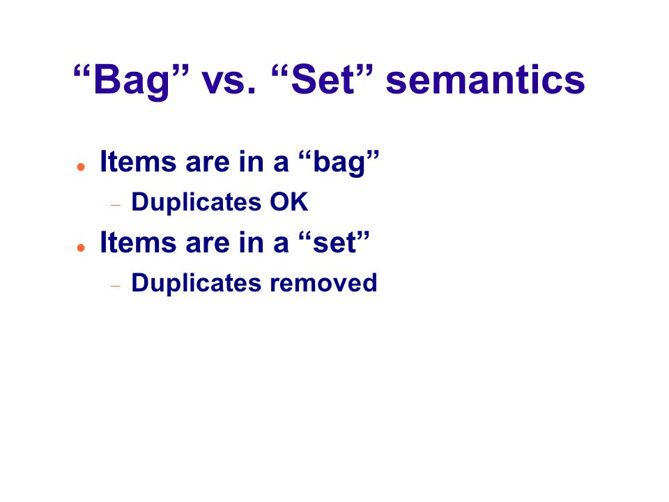 Bag vs.