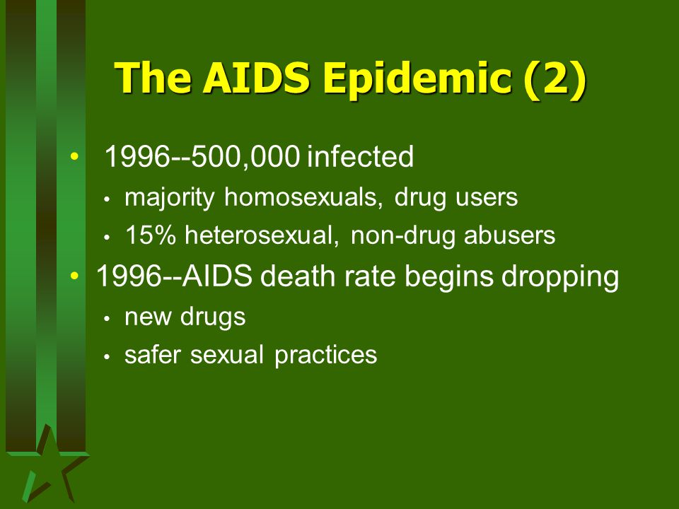 The AIDS Epidemic (2) 1996--500,000 infected majority homosexuals, drug users 15% heterosexual, non-drug abusers 1996--AIDS death rate begins dropping new drugs safer sexual practices